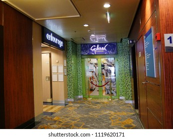 MIAMI, FLORIDA—JANUARY 2018: Lobby shot inside a luxurious cruise ship plying the Caribbean waters