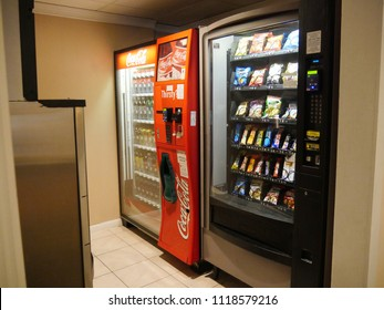 MIAMI, FLORIDA—JANUARY 2018: A vending machine at the lobby of a hotel in Miami dispensing drinks and snacks for hotel guests.