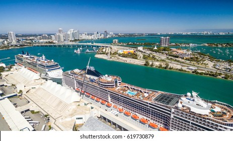 Miami aerial skyline with port and cruise ships, Florida - USA.