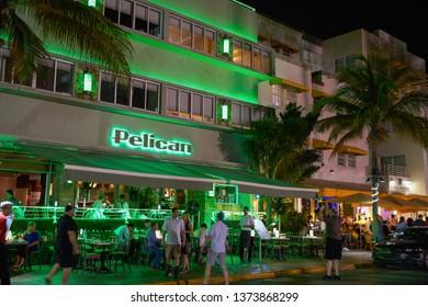 MIAMI - APRIL 10, 2019: Night photo Pelican Hotel Miami Beach