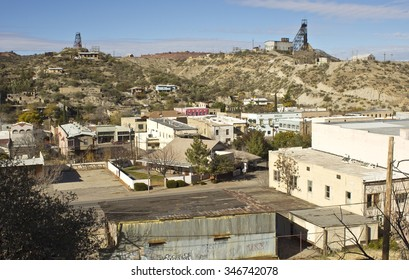 MIAMI, ARIZONA - DECEMBER 2: Aerial scene in the quiet small mining town, home of copper mining industry and a reviving main street of antique stores on December 2, 2015.