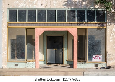 Miami, Arizona - June 13, 2018: A vacant storefront in the small Arizona mining town of Miami. It has experienced a slow population decline since its heyday in the early 1900s.