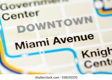 Miami Avenue Station. Miami Metro map.