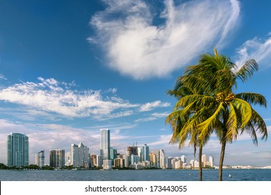 miami bayfront cityscape skyline, winter 2014