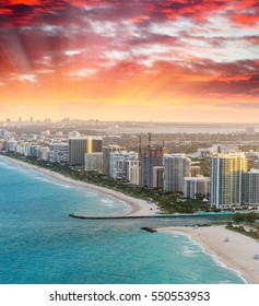 Miami Beach aerial skyline at dusk, Florida.