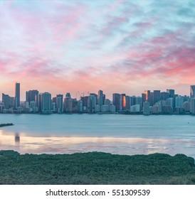 Miami Beach aerial skyline at dusk, Florida.