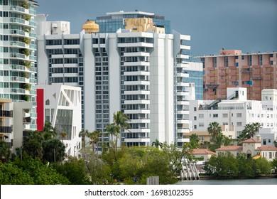 Miami Beach apartment buildings shot with telephoto lens