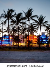 Miami Beach April 2019, colorful Art Deco District at night