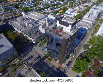 MIAMI BEACH - AUGUST 20: Aerial drone photo of the Lincoln Road clock tower located at 407 Lincoln road August 20, 2016 in Miami Beach FL, USA
