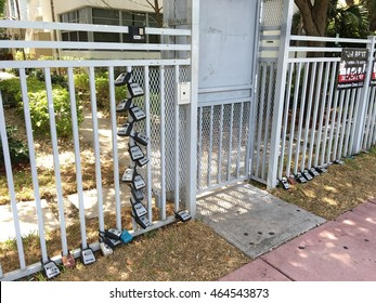 MIAMI BEACH - AUGUST 6: Apartments in lockbox for convenient checkin and checkout of Airbnb guests for vacation rentals August 6, 2016 in Miami Beach FL