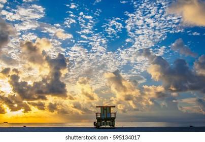 Miami beach awakes in calm as the sun rises