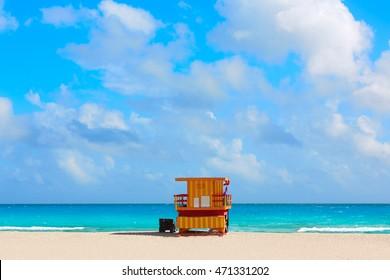 Miami beach baywatch tower in south beach of Florida USA