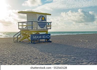 Miami Beach Blue Yellow Famous Lifeguard Tower Sunrise Scene No People