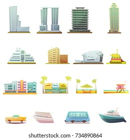 Miami beach buildings city landscape tourists attractions and transportation elements retro cartoon icons collection isolated  illustration