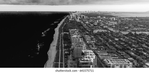 Miami Beach coastline, aerial view.