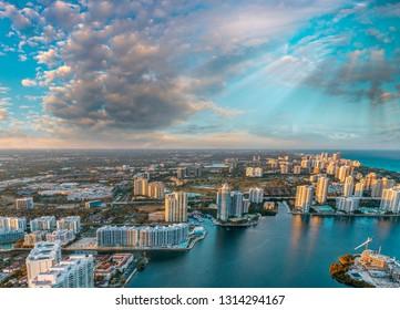 Miami Beach coastline as seen from the air.