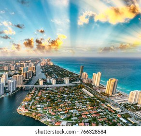 Miami Beach coastline as seen from the air.