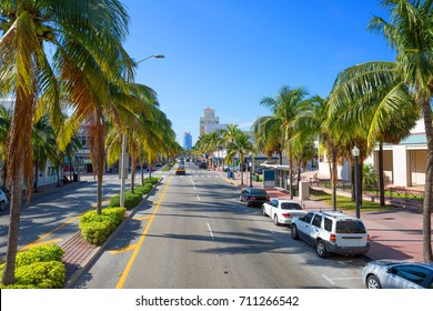Miami Beach. Collins Avenue. Street Collins Avenue runs from South to North Miami beach, parallel to the Atlantic coast, passes through many famous areas of the city.