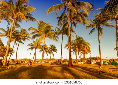 MIAMI BEACH - FEBRUARY 25th, 2016: Tourists and locals enjoy Lummus Park on a sunny day.