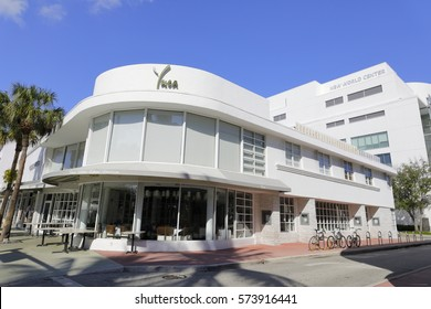 MIAMI BEACH - FEBRUARY 6, 2017: Stock image of deco architecture in Miami Beach and Lincoln road