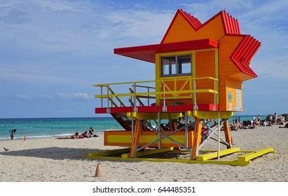 MIAMI BEACH, FL -5 MAY 2017- Colorful Art Deco lifeguard station cabin on the beach in Miami Beach, Florida.