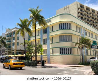 MIAMI BEACH, FL - APRIL 26, 2018: Famous Art Deco Hotels in pastel colors along Ocean Drive in South Beach, Miami, Florida.