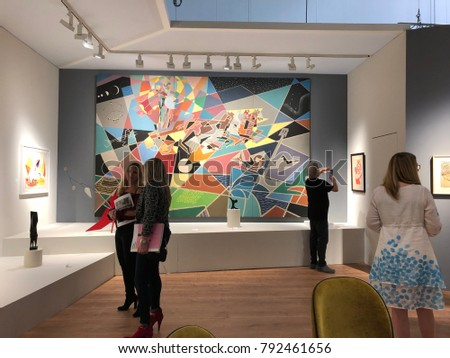 Miami Beach, FL: December 8, 2017: Art Basel Expo 2017, an international yearly art fair.