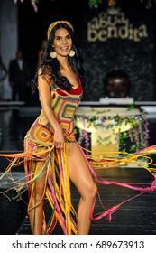 MIAMI BEACH, FL - JULY 22: A model walks the runway at the Agua Bendita fashion show during Funkshion Swim Fashion Week at Setai Hotel on July 22, 2017 in Miami Beach, Florida.