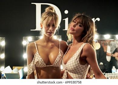MIAMI BEACH, FL - JULY 23: Models posing backstage before the Montce Runway at Funkshion Swim Fashion Week on July 23, 2017 in Miami Beach, Florida.