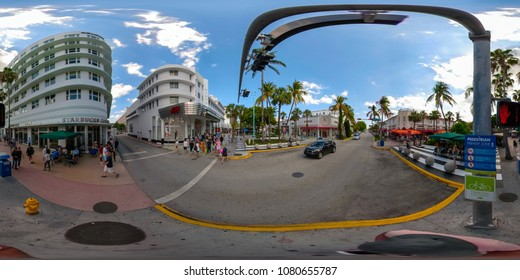 MIAMI BEACH, FL, USA - APRIL 29, 2018: 360 virtual reality spherical image of Lincoln Road an open air shopping promenade in South Beach