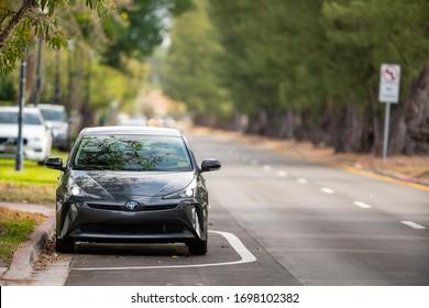 MIAMI BEACH, FL, USA - APRIL , 2020: 2019 2020 Toyota Prius hybrid vehicle