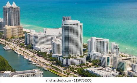 MIAMI BEACH, FL, USA - AUGUST 9, 2018: Aerial photo of the Fontainebleau Hotel Miami Beach 44th Street Collins Avenue
