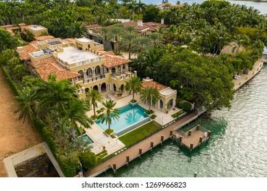 MIAMI BEACH, FL, USA - DECEMBER 20, 2018: Luxury waterfront homes Miami Beach Star Island