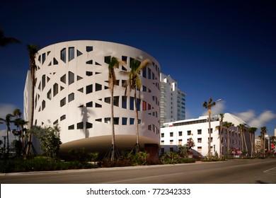 MIAMI BEACH, FL, USA - DECEMBER 9, 2017: Long exposure image Faena House Miami Beach long exposure with deep blue sky polarizer filter