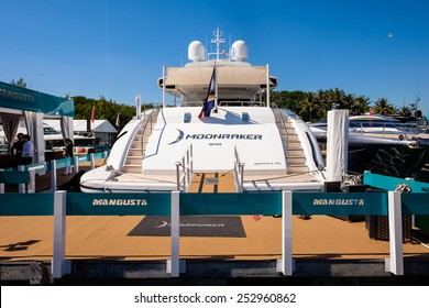 Miami Beach, Fl USA - February 13, 2015: The popular Miami International Boat Show features more than 3,000 boats and 2,000 exhibitors from all over the globe.