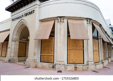 Miami Beach, FL, USA - JUNE 7, 2020: Victoria Secret store protect storefronts from hurricane or burglars. Nationwide protests against racism led to shattered storefronts and looting