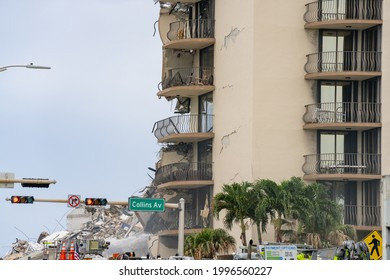 Miami Beach, FL, USA - June 24, 2021: rescue teams on scene at the collapse of the Champlain Towers Surfside this morning