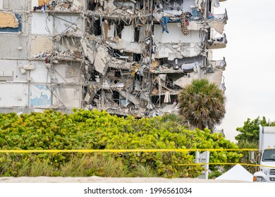 Miami Beach, FL, USA - June 24, 2021: aftermath of the Champlain Towers collapse this morning showing building rubble