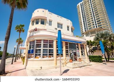 MIAMI BEACH, FL, USA - MARCH 26, 2020: Ronis by the Ocean Miami Beach shut down by city order to slow spread of Coronavirus covid 19
