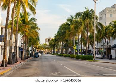 MIAMI BEACH, FL, USA - MARCH 31, 2020: Miami Beach void of Spring Break crowds Coronavirus Covid 19 pandemic quarantine