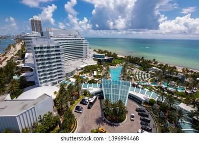 MIAMI BEACH, FL, USA - MAY 11, 2019: Aerial photo Fontainebleau hotel Resort Miami Beach FL