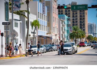MIAMI BEACH, FL, USA - MAY 11, 2019: 8th Street and Collins Avenue Miami Beach FL stock photo
