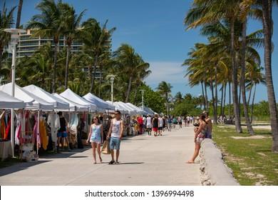MIAMI BEACH, FL, USA - MAY 11, 2019: Miami Beach Ocean Drive weekend farmers market stock photo