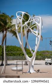 MIAMI BEACH, FL, USA - MAY 11, 2019: Muscle Beach Miami FL stock image