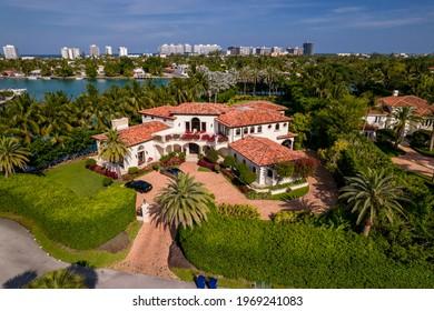 Miami Beach, FL, USA - May 3, 2021: Aerial photo of a luxury house on La Gorce Island Miami Beach FL USA