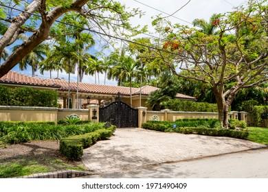 MIAMI BEACH, FL, USA - MAY 11, 2021: Photo of a luxury house on La Gorce Island Miami Beach Florida USA