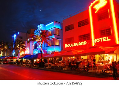 Miami Beach, FL, USA November 30, 2008 The neon lights of South Beach foretell of an exciting nightlife scene on Ocean Drive in Miami Beach, Florida