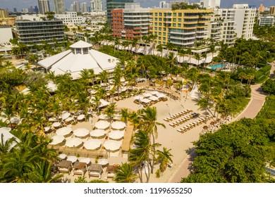 MIAMI BEACH, FL, USA - OCTOBER 8, 2018: Aerial photo Nikki Beach Club Miami Beach