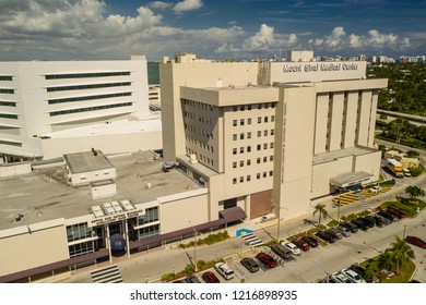 MIAMI BEACH, FL, USA - OCTOBER 28, 2018: Aerial photo Mt Sinai Medical Center Hospital Miami Beach