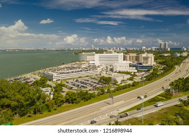 MIAMI BEACH, FL, USA - OCTOBER 28, 2018: Aerial photo Mt Sinai Medical Center Hospital Miami Beach